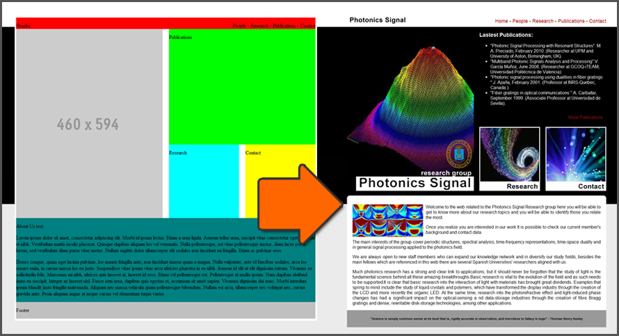 Photonics. From Wireframe to Final Site